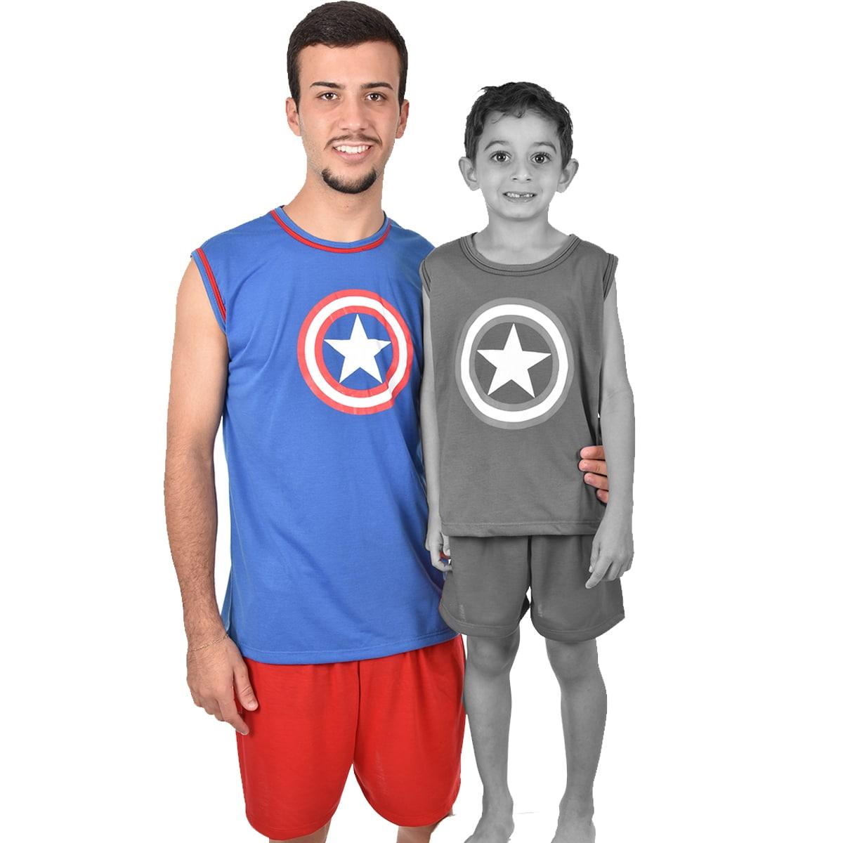 Pijama Regata Short Masculino Adulto Capitão América Vingadores Ref 355