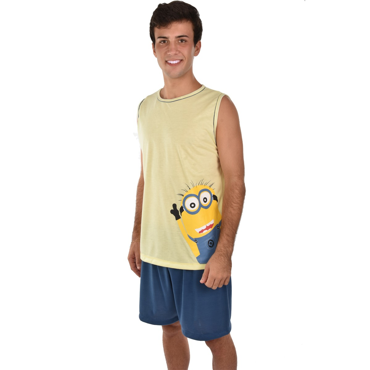 Pijama Regata Short Masculino Adulto Pai Meu Malvado Favorito Minions Ref: 326