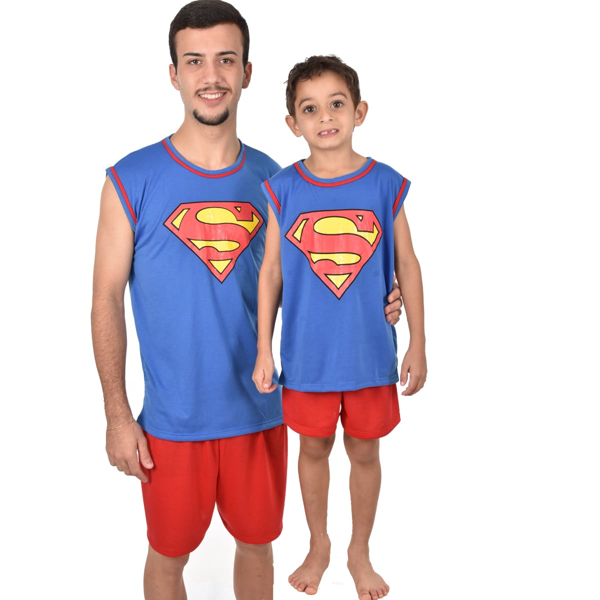 Pijama Regata Short Masculino Adulto Superman Super Homem Liga da Justiça Ref 355