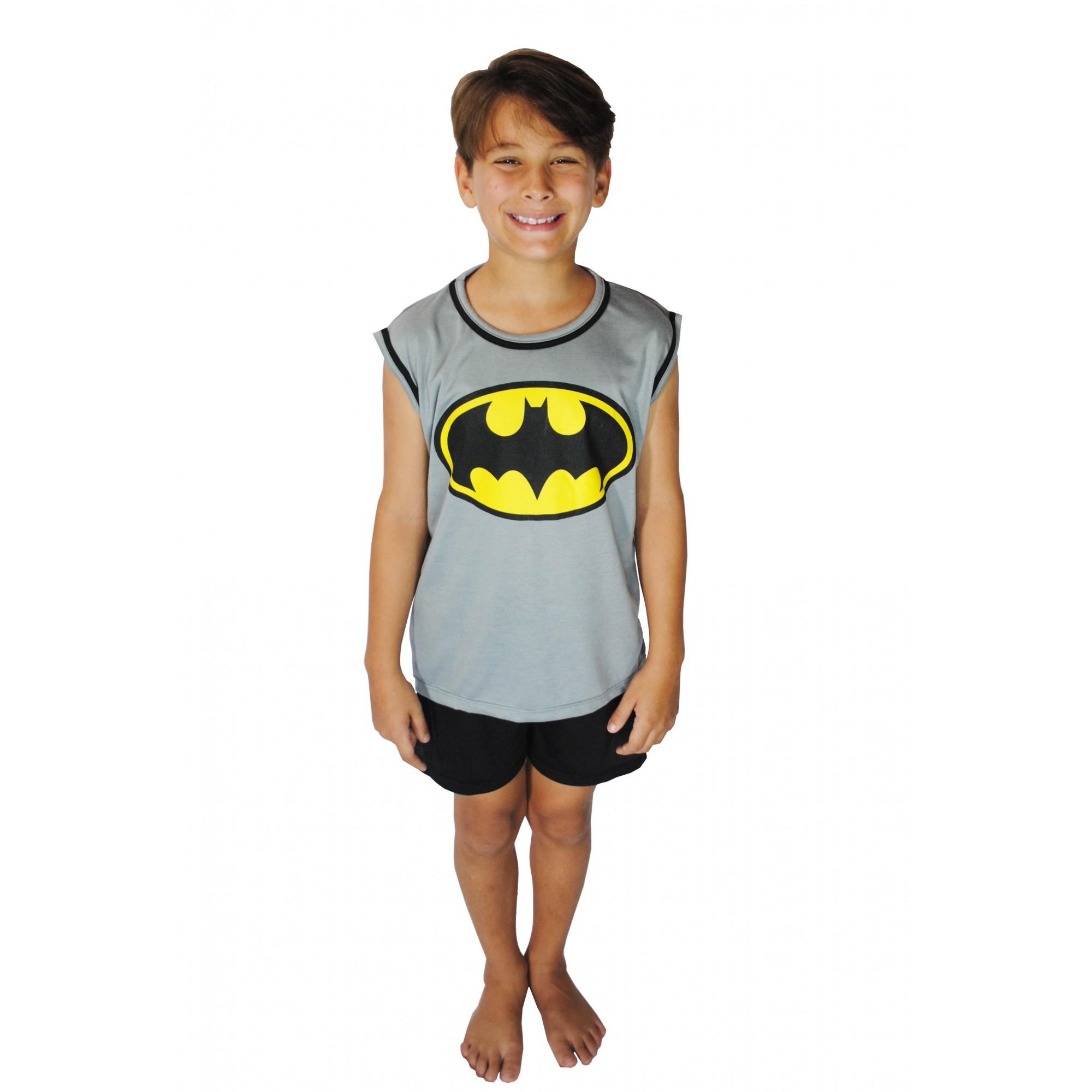 Pijama Regata Short Masculino Infantil Menino Batman Liga da Justiça Ref 356