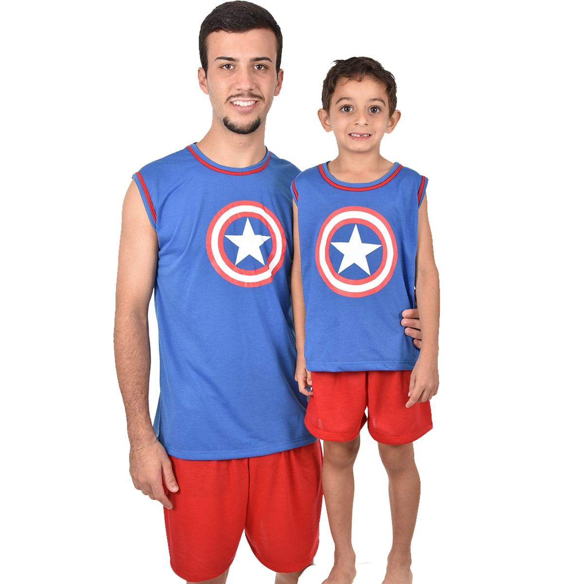 Pijama Regata Short Masculino Infantil Menino Capitão América Vingadores Ref 356