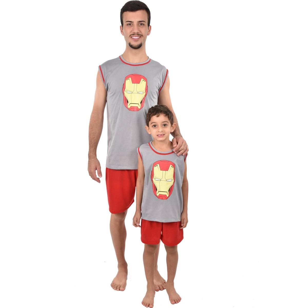 Pijama Regata Short Masculino Infantil Menino Homem de Ferro Vingadores Ref 356