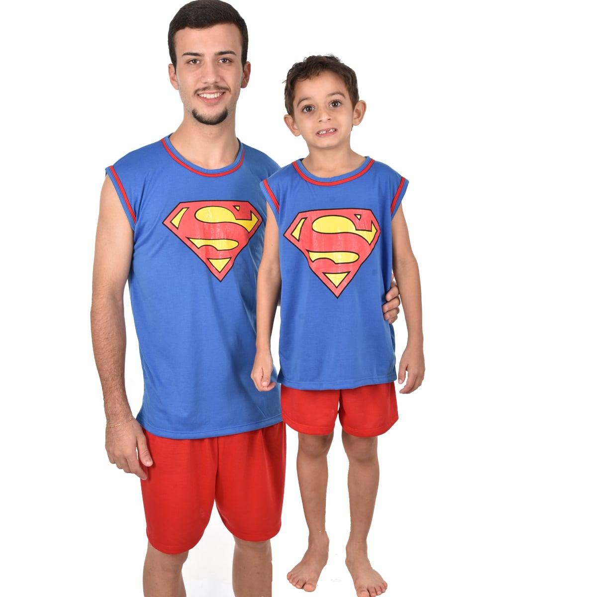 Pijama Regata Short Masculino Infantil Menino Super Homem Superman Liga da Justiça Ref 356