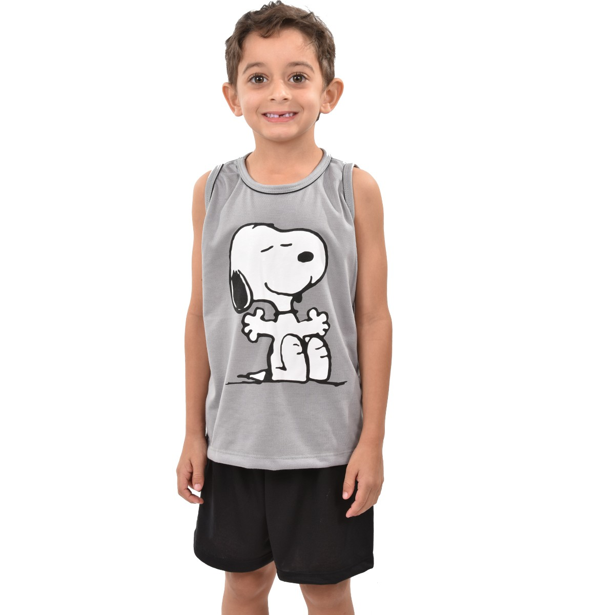 Pijama Regata Short Snoopy Masculino Infantil Menino Ref: 327