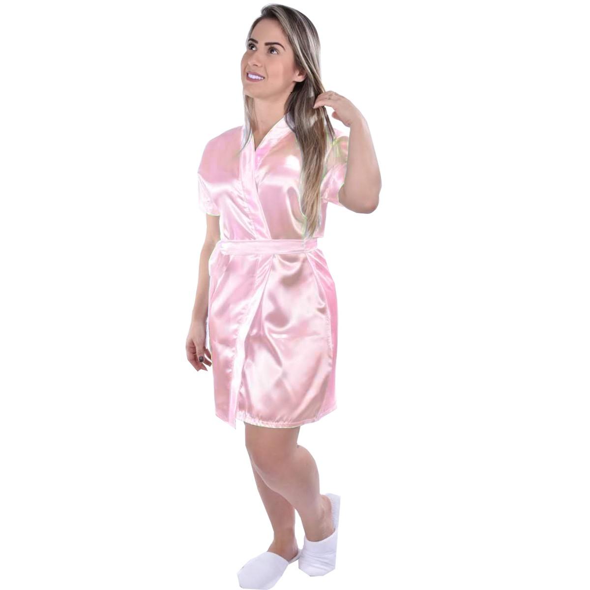 Robe Seda Cetim Manga Curta Liso Feminino Adulto Ref: 7104