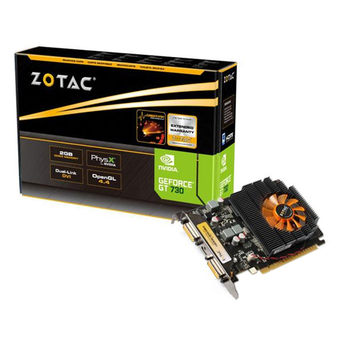 Placa de Vídeo Geforce GT730 - Mem. 2GB GDDR-3, Processador Cuda Dual 96, Clock 1800 MHz, DVI, MINI - HDMI