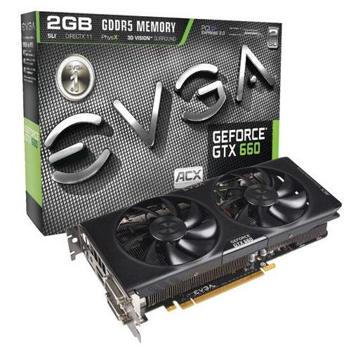 Placa de Vídeo Geforce GTX660 EVGA - ACX Mem. 2GB GDDR-5, Processador Cuda Cores 960, Clock 6008 MHz, HDMI, DP, DVI