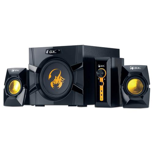 """Caixa de Som GX Gaming Genius SW-G2.1 3000 + 2 Caixas + 1 Subwoofer - 70W, Entrada Dupla PC TV DVD, Alto-Falante 6,5"""""""