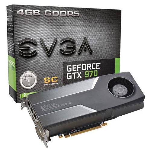 Placa de Vídeo Geforce GTX970 EVGA - SuperCloked Mem. 4GB GDDR-5, Processador Cuda Cores 1664, Clock 7010 MHz, DVI, HDMI, DP