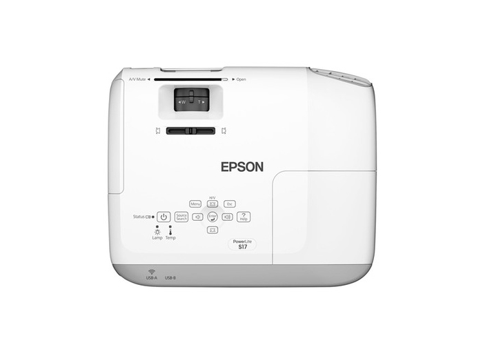 Projetor Epson PowerLite S17 - 3LCD, Lumens 2700, Contraste 10.000, HDMI, Wireless Ready, Alto falantes incorporados, E-Torl