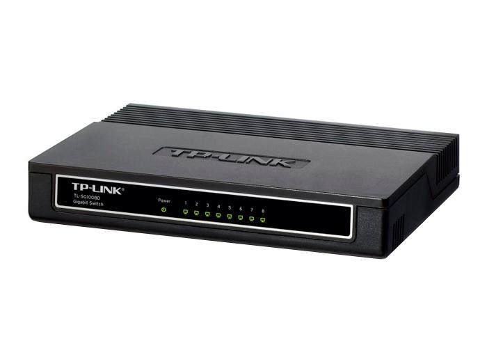Switch Gigabit TP-Link TL-SG1008D  -  1000Mbps, Verde Ethernet , Fluxo IEEE 802.3x, 8 Portas Ethernet *