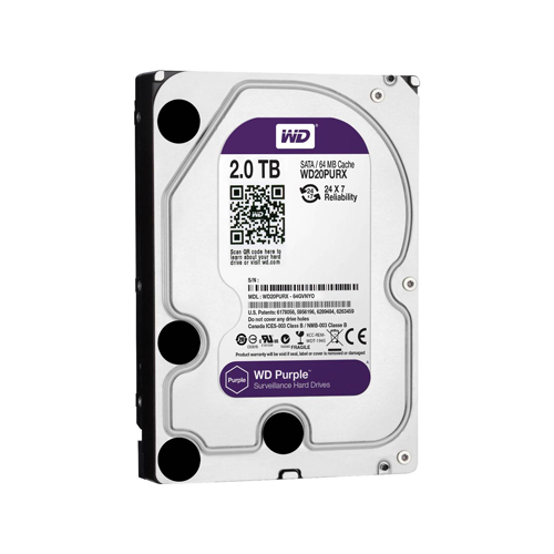 HD para Desktop 2TB  Western Digital Purple - SATA 3, 7200RPM, 6GB/s, Buffer 64MB, 3.5