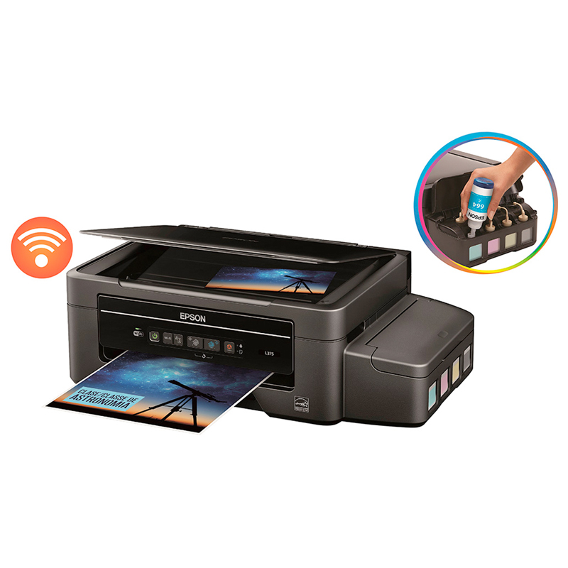 Impressora Multifuncional Epson Ecotank L375 - Wireless, Copiadora, Digitalizadora *