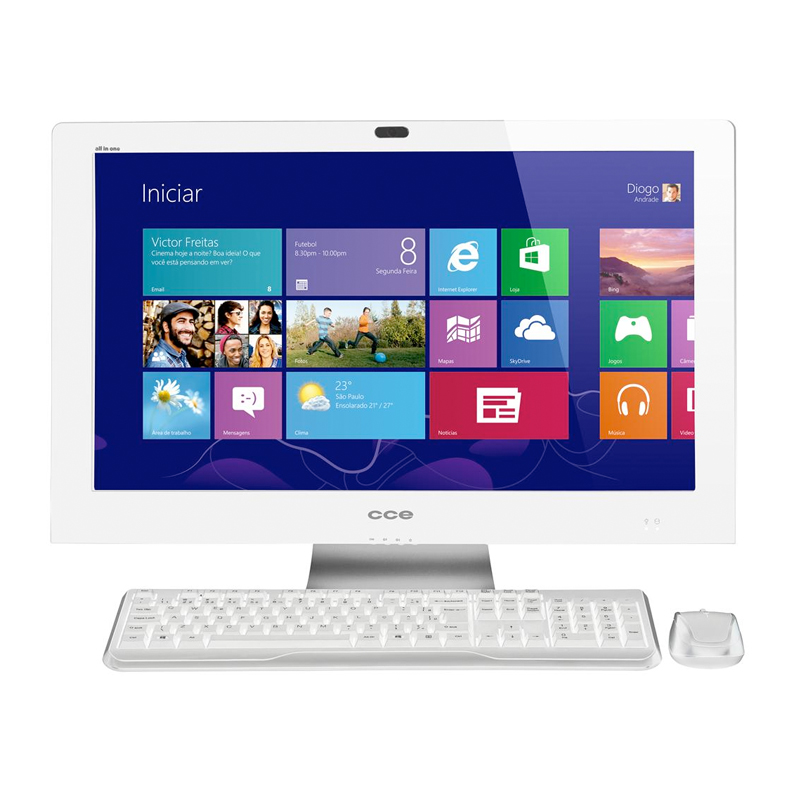 Computador All in One CCE D40-30TV - Processador Intel, 4GB de Memória, HD de 500GB, TV Digital, Windows 8.1, Tela LED de 24""