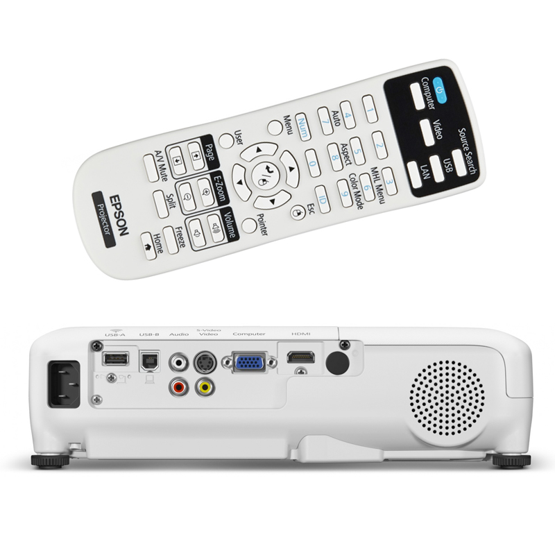 Projetor Epson PowerLite EB-X36 - 3LCD, 3600 Lúmens, Contraste 15.000:1, Wireless, HDMI, USB, Alto Falantes incorporados *