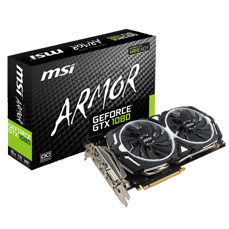 Placa de Video MSI NVIDIA GeForce  GTX1080 ARMOR - Compatível 4k, 8GB, 256 BITS GDDR5X - GTX1080ARMOR8GOC - Beta Informática