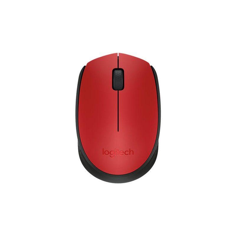 Mouse Logitech - Wireless, Óptico - M170 Vermelho