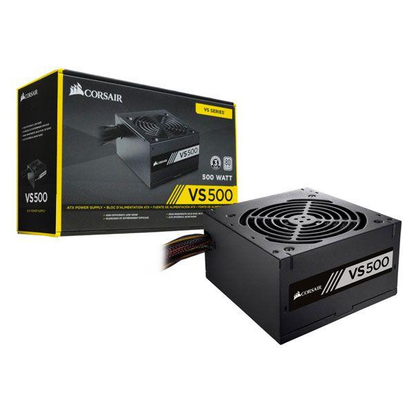 Fonte Corsair VS500 ATX 500W - 80PLUS, PFC Ativo, Bivolt