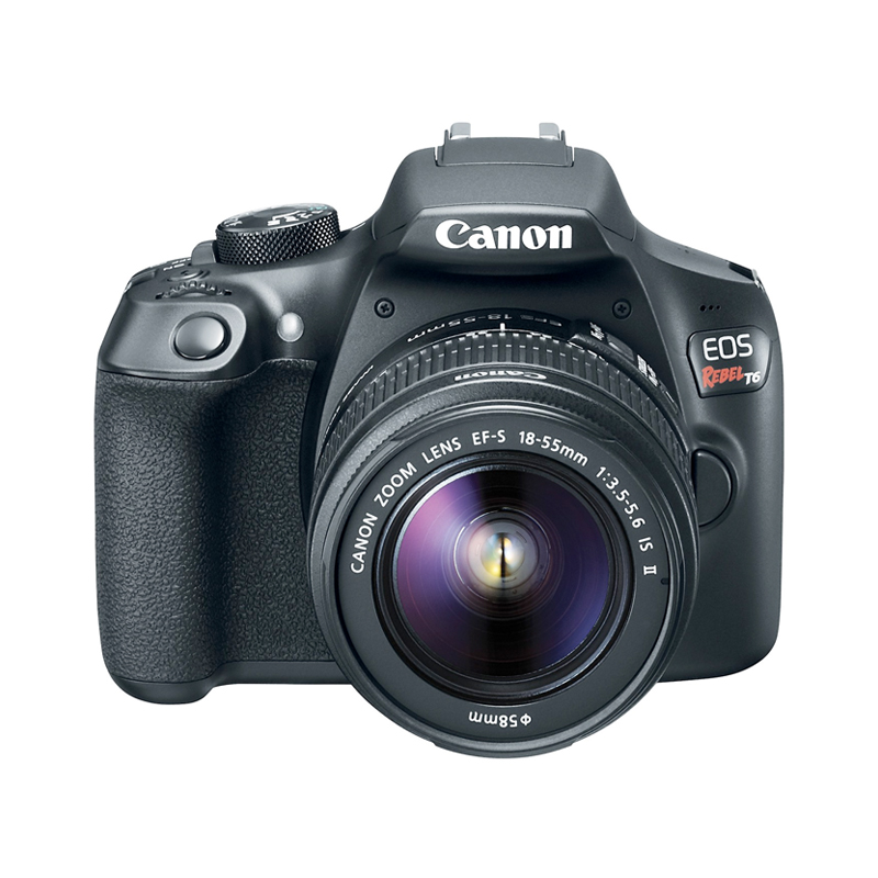 Câmera Canon EOS Rebel T6 + Lente 18-55mm IS II,  CMOS de 18.0 MP, Vídeo Full HD, Wi-Fi e NFC, Visor de 3