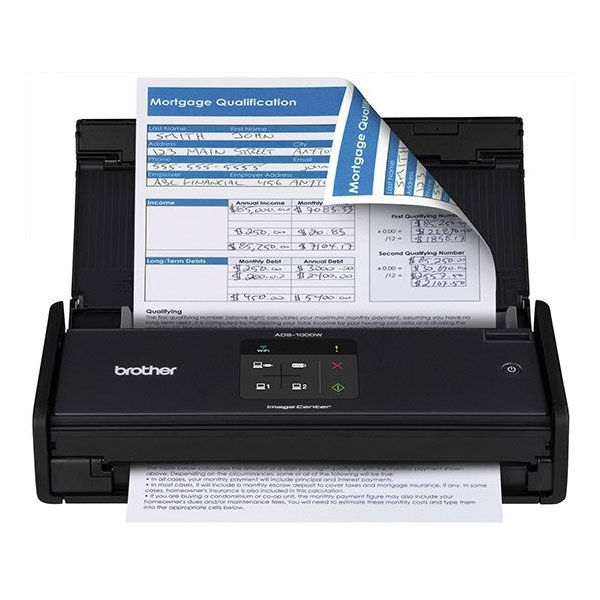 Scanner Brother - Ótica de 600dpi, 500 pág. diario, Duplex, WiFi - ADS1000W *