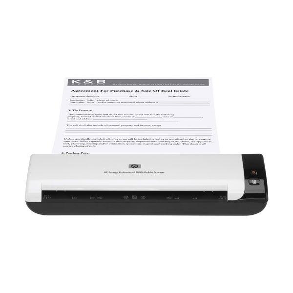 Scanner HP - Ótica de 600dpi, USB 2.0, 100 pág. diario, WiFi, Portátil - Pro 1000 *