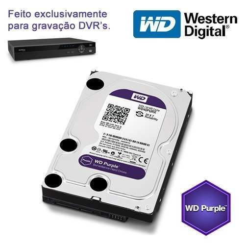 HD para Desktop 4TB  Western Digital Purple - SATA 3, 7200RPM, 6GB/s, Buffer 64MB, 3.5