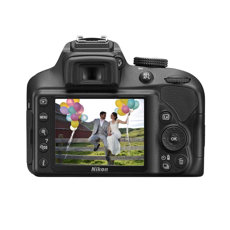 Câmera Nikon D3400 + Lente 18-55mm VR, 24.2 Megapixels,Tela 3.0,Processador EXPEED 4 *