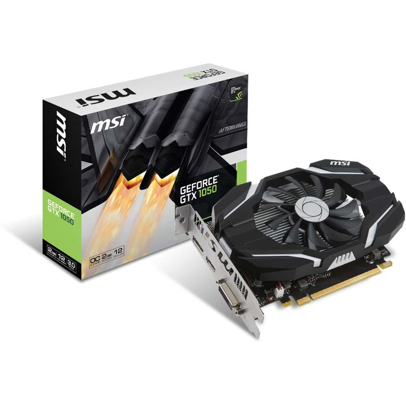 PLACA DE VIDEO MSI GEFORCE GTX 1050, 2GB de Memória e DDR5 de 128 bits, NVIDIA Pascal 1518mHZ ,  HDMI, DP