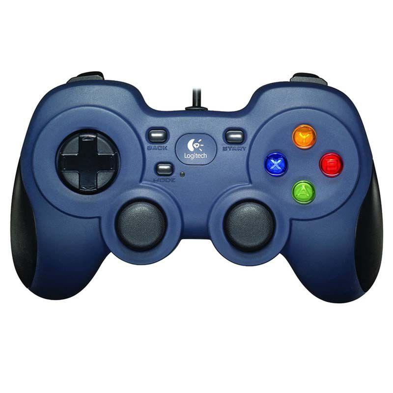 Controle Logitech Gamer com Fio e Entrada USB, para PC e TV - Preto / Azul - F310