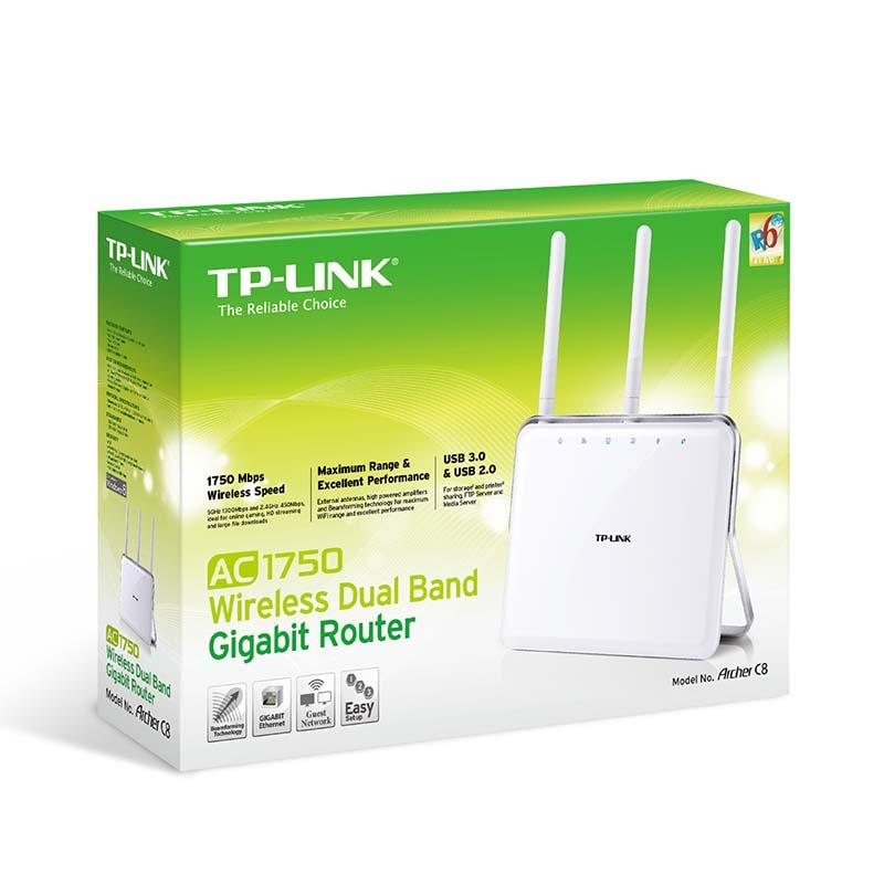 Roteador Wireless Gigabit TP Link AC-1750, com 3 antenas Dual Band,  Archer C8, Processador DUAL CORE de 800MHZ, 4 Portas -  Branco