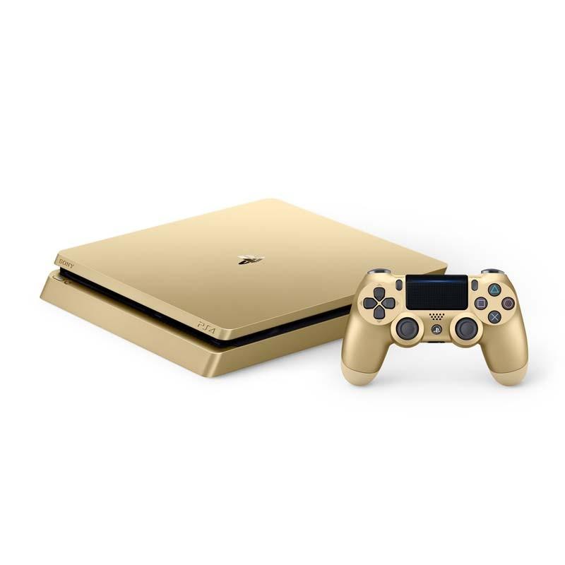 Console Playstation 4 Slim Gold - HD 1TB, Memória de 8Gb, Processador Octa-Core, USB 2.0, HDMI, Controle Dualshock - PS4 Edição Limitada / Especial Gold