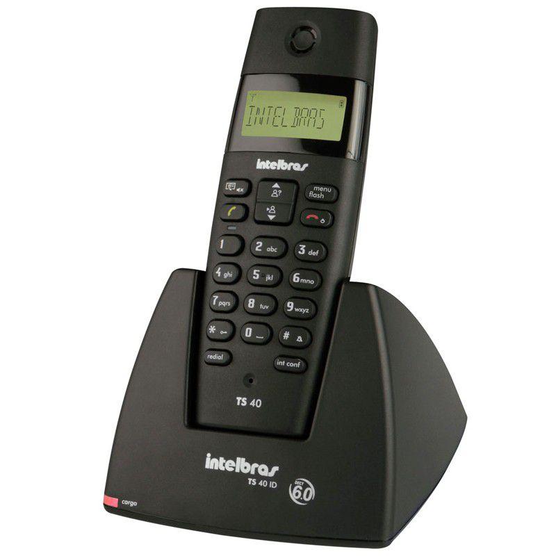 Telefone sem Fio Intelbras TS40 ID com Identificador de chamadas