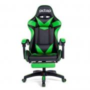 Cadeira Gamer PCTop  Racer 1006 Verde e preto com Descanso de Pé
