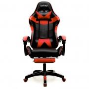 Cadeira Gamer PCTop Racer 1006 Vermelha e preto com Descanso de Pé