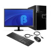 Computador Office Basic - Dual Core E1-2100, Memória de 4GB, SSD 240GB, Gabinete ATX + Monitor LED 15.6""
