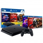 Console Sony PlayStation 4 1TB Mega Pack 17 com Dreams, Marvel Spider-Man e Infamous Second Son - Bundle PS4 CUH-2214B