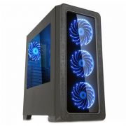Gabinete Gamer K-Mex Anjo da Noite II - 3 Coolers, Preto com Azul