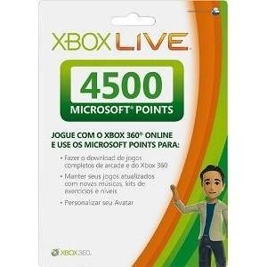 Cartão Microsoft Points de 4500 pontos (p/ Xbox 360)
