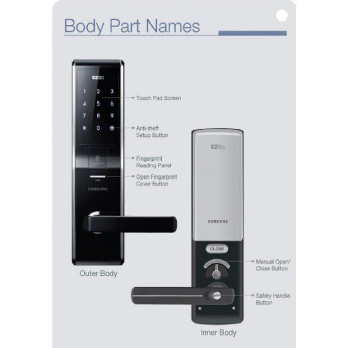 Fechadura Digital Samsung Shs-5230 - Leitura Biométrica, Trava Dupla