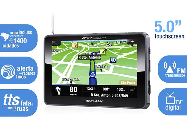 GPS Multilaser Tela 5,0´ Com TV DIGITAL, Alerta de Radar Fixo + Mapas 3D (GP014)