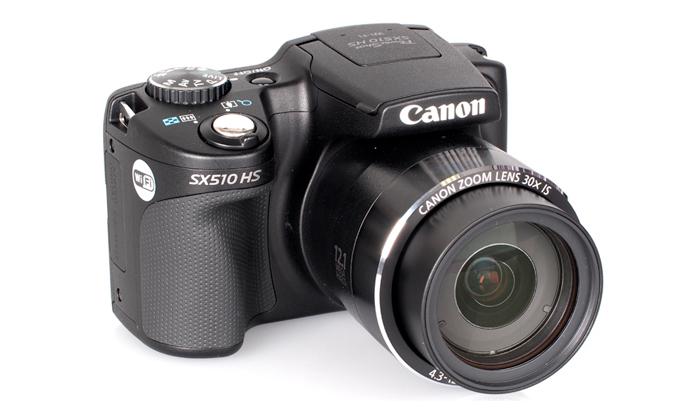 Câmera Digital Canon PowerShot SX510 HS - 12.1MP,  Sensor CMOS, Zoom Óptico 30x, DIGIC 4, Vídeo Full HD, Wi-Fi, GPS, Tela de 3