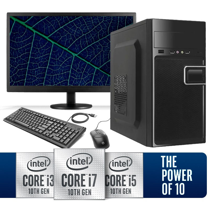 Computador Home Office Intel Core i3 10ª Geração 10100, Ssd 480GB, 8GB DDR4, Gabinete ATX + Monitor LED 18.5""