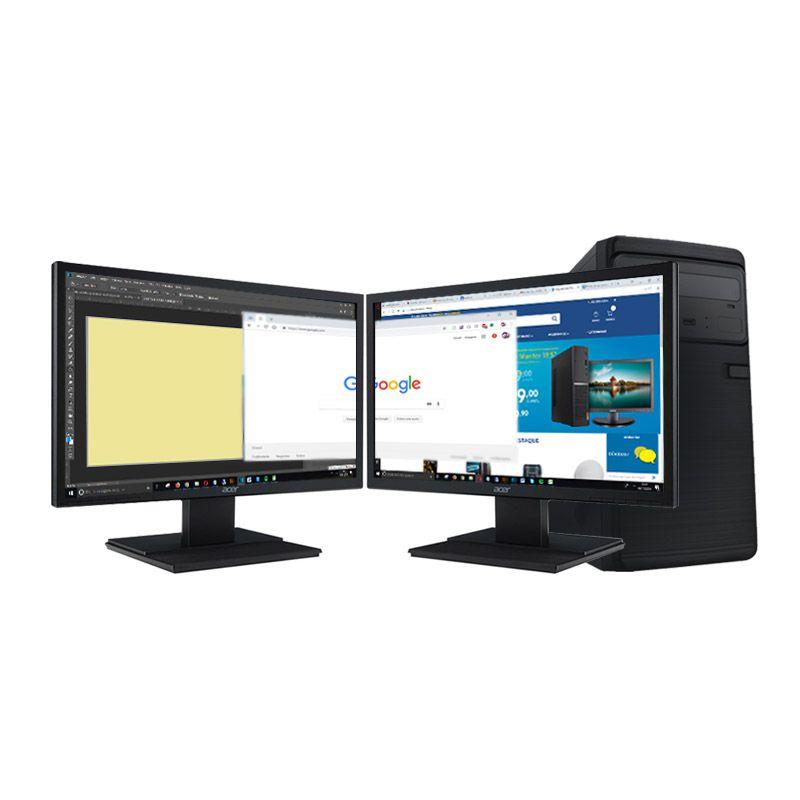 """Computador Office Pentium + 2 Monitores 19,5"""" - Intel Pentium Gold G5400 8ª Geração, Memória 4GB, SSD 240GB"""