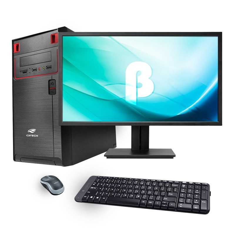 Computador Office Standard -  Intel Quad Core 2GHz,  8GB de Memória, SSD 120GB, Gabinete ATX + Monitor 18.5