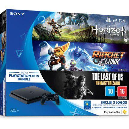 Console Playstation 4 Slim Edição Especial + 3 jogos - HD 500GB, Controle Dualshock 4, chip 8 núcleos, 8GB + Jogos Horizon: Zero Dawn, Ratchet & Clank e The Last of Us