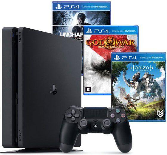 Console Playstation 4 Slim Edição Especial Hits - HD 500GB, Processador Octa-Core, Controle Dualshock 4 + Jogos God Of War, Horizon Zero Dawn e Uncharted 4 + 03 Meses Playstation Plus - PS4