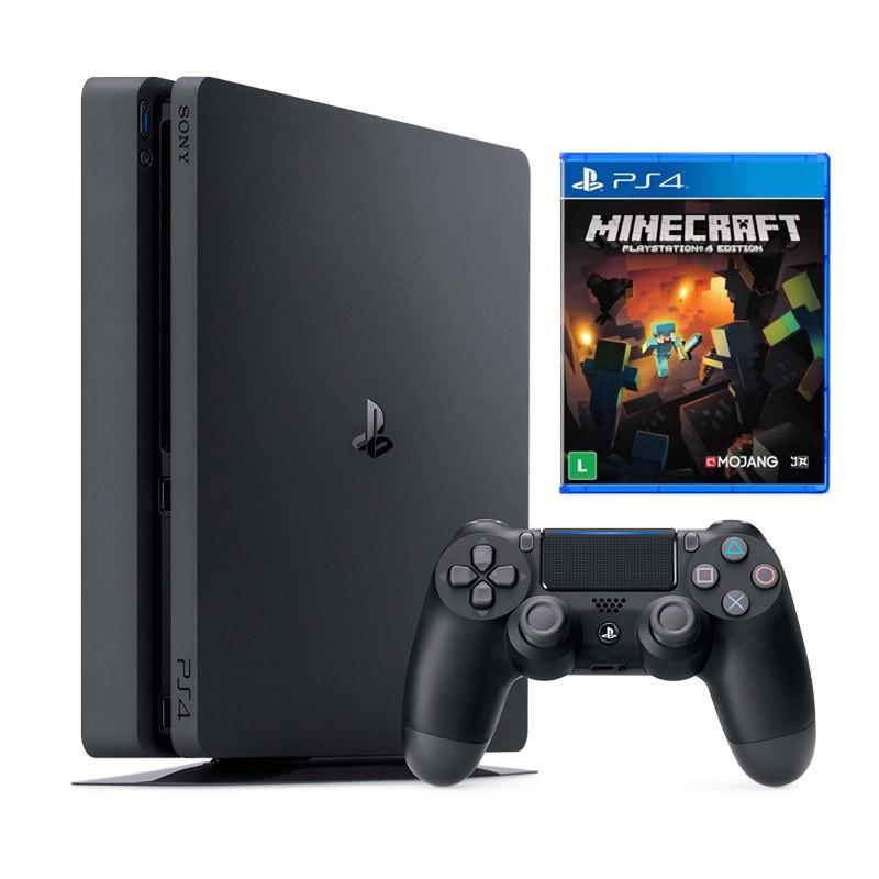 Console Playstation 4 Slim + Jogo Minecraft - HD 500GB, Processador Octa-Core, Controle Dualshock 4 - PS4