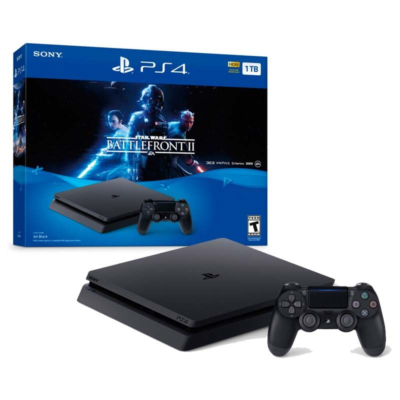 Console Playstation 4 Slim + Jogo Star Wars Battlefront 2 - HD 1TB, Octa-Core, Controle Dualshock 4 - PS4