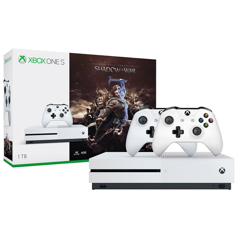 Console Xbox One S 500GB + Shadow Of War c/ 2 Controles Wireless, 4k