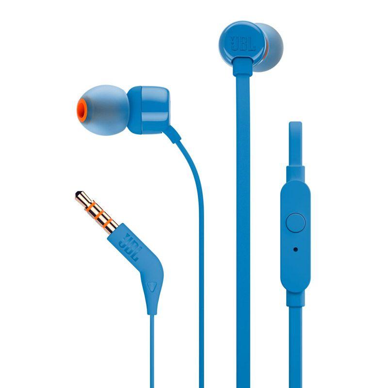 Fone de ouvido Intra-auricular JBL T110 - Técnologia PureBass, Azul